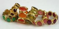 9 steens ringen in 18k goud en diverse stenen