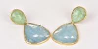Aquamarijn oorbellen in 18k goud met smaragd tops