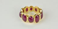 Robijn ring in 18k goud en roos geslepen robijnen