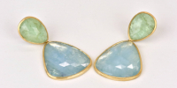 Aquamarine earrings in 18k gold with emerald tops