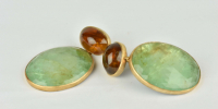 Emerald earrings in 18k gold and silver, with large emerald pendants and brown tourmaline top