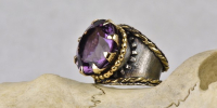 Pompadour ring is the sister of the cake ring. Amethyst, 18 carat gold and silver.