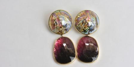 Grote oorbellen in 18k goud op zilver met porselein en tourmalijn