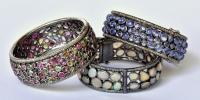 Armbanden met tourmalijn, opaal en tanzaniet in zilver gezet metdiamanten