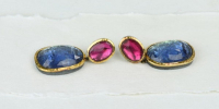 Tanzanite and tourmaline earrings set in 18k gold, silver and foil.